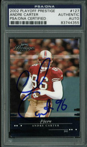 49Ers Andre Carter Authentic Signed Card 2002 Playoff Prestige #127 PSA Slabbed