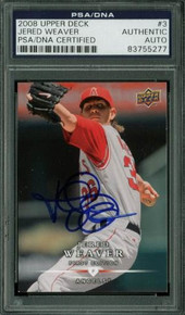 Angels Jered Weaver Signed Card 2008 Upper Deck #3 PSA/DNA Slabbed #83755277