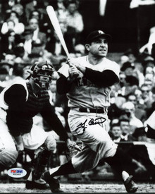 Yankees Yogi Berra Signed Authentic 8X10 Hitting Photo Autographed PSA/DNA