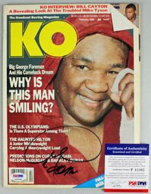 George Foreman Authentic Signed 1989 Knockout Boxing Magazine PSA/DNA #P43365