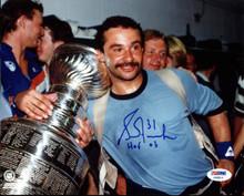 """Oilers Grant Fuhr """"HOF 03"""" Authentic Signed 8X10 Photo PSA/DNA #AB40614"""