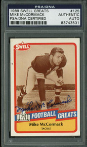 Browns Mike Mccormack Signed Card 1989 Swell Greats #125 PSA Slabbed #83743531