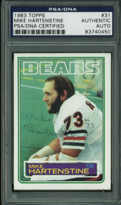 Bears Mike Hartenstine Authentic Signed Card 1983 Topps #31 PSA/DNA Slabbed
