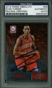 76Ers Evan Turner Authentic Signed Card 2012 Panini Absolute #58 PSA/DNA Slabbed
