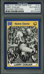 Larry Conjar Authentic Signed Card 1990 C.C. Notre Dame 200 #141 PSA/DNA Slabbed