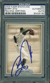 Athletics Barry Zito Authentic Signed Card 2003 Fleer #82 PSA/DNA Slabbed