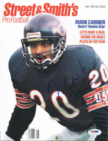 Bears Mark Carrier Authentic Signed Magazine 1991 Street & Smiths PSA #U51477