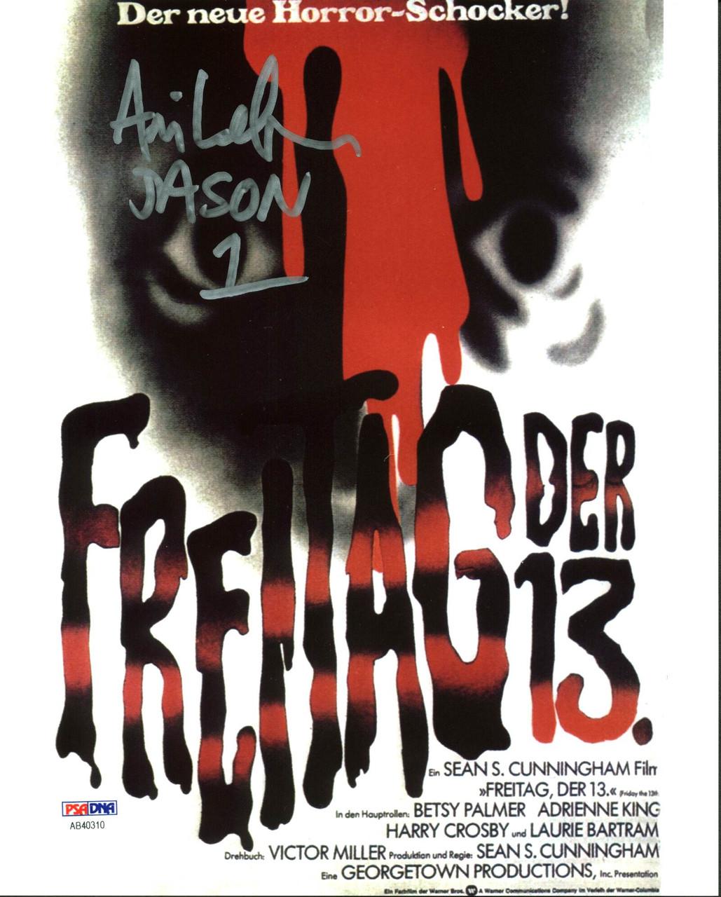"ARI LEHMAN signed Friday the 13th /""JASON 1/"" 8x10 movie poster photo ~ BAS COA"
