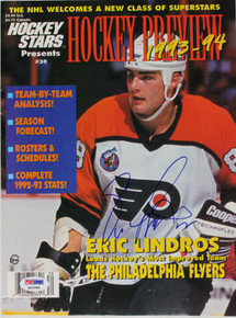 Flyers Eric Lindros Authentic Signed 1993 Hockey Magazine PSA/DNA #Q12286