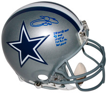 "Cowboys Emmitt Smith ""Stat"" Signed Proline Full Size Helmet BAS Witnessed"