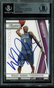 Wesley Johnson Signed Card 2010 Prestige Bonus Shots Purple RC #214 BAS Slabbed