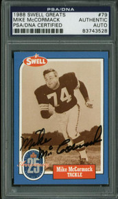 Browns Mike Mccormack Authentic Signed Card 1988 Swell Greats #79 PSA Slabbed