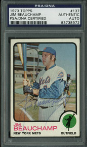 Mets Jim Beauchamp Authentic Signed Card 1973 Topps #137 PSA/DNA Slabbed