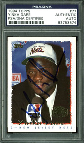 Nets Yinka Dare Authentic Signed Card 1994 Topps RC #77 PSA/DNA Slabbed