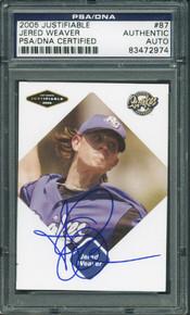 Angels Jered Weaver Signed Card 2005 Justifiable Rookie #87 PSA/DNA Slabbed
