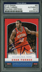 76Ers Evan Turner Authentic Signed Card 2012 Panini #62 PSA/DNA Slabbed