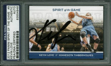 T-Wolves Kevin Love Signed Card 2012 Panini Spirit Of The Game #8 PSA Slabbed