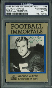 Bears George Mcafee Signed Card 1985 Football Immortals #78 PSA/DNA Slabbed