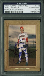 Angels Jered Weaver Authentic Signed Card 2007 Topps Turkey Red #142 PSA Slabbed
