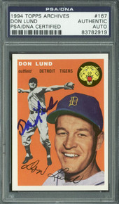 Tigers Don Lund Authentic Signed Card 1994 Topps Archives #167 PSA/DNA Slabbed