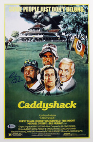 Chevy Chase Caddyshack Authentic Signed 12x18 Mini Movie Poster BAS Witnessed 1