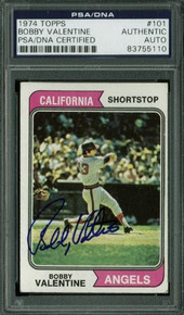 Angels Bobby Valentine Authentic Signed Card 1974 Topps #101 PSA/DNA Slabbed