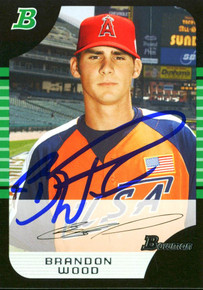 Angels Brandon Wood Authentic Signed Card 2005 Bowman RC #BDP144 w/ COA