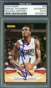 76ers Samuel Dalembert Authentic Signed Card 2009 Panini #38 PSA/DNA Slabbed