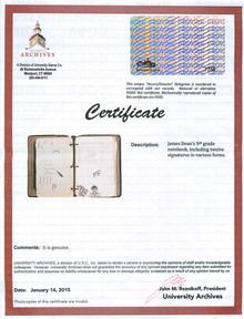 James Dean 1.75x2 Handwriting Sample from 5th Grade Notebook JSA Slabbed 8947583