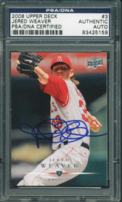Angels Jered Weaver Authentic Signed Card 2008 Upper Deck #3 PSA/DNA Slabbed
