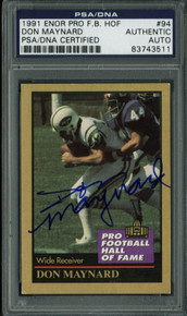 Jets Don Maynard Authentic Signed Card 1991 Enor Por F.B. HOF #94 PSA Slabbed