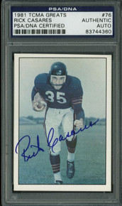 Bears Rick Casares Authentic Signed Card 1981 Tcma Greats #76 PSA/DNA Slabbed