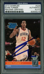 76Ers Evan Turner Authentic Signed Card 2010 Donruss Rc #229 PSA/DNA Slabbed