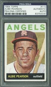 Angels Albie Pearson Authentic Signed Card 1964 Topps #110 PSA/DNA Slabbed