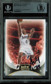 76ers Andre Miller Authentic Signed Card 2008 Hot Prospects #59 BAS Slabbed