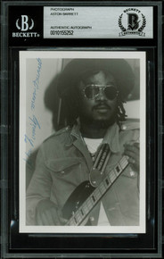 Aston Barrett The Wailers Band Signed 3.5x5 Black & White Photo BAS Slabbed