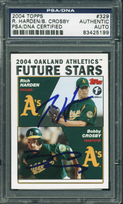 Athletics Crosby & Harden Authentic Signed Card 2004 Topps #329 PSA/DNA Slabbed