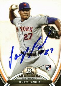 Mets Jeurys Familia Authentic Signed Card 2013 Bowman Platinum RC #86 w/ PPC COA