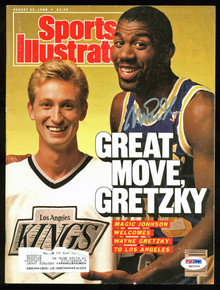 Lakers Magic Johnson Authentic Signed SI w/ Gretzky PSA/DNA ITP #6A03204