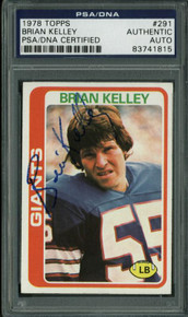Giants Brian Kelley Authentic Signed Card 1978 Topps #291 PSA/DNA Slabbed