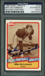Browns Mike Mccormack Signed Card 1989 Swell Greats #125 PSA Slabbed #83743530