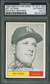Yankees Art Ditmar Signed Card 1986 Renata Galasso ' 61 Nyy #20 PSA/DNA Slabbed