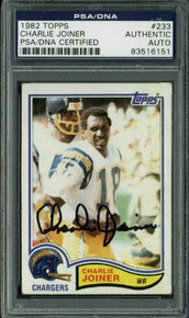 Chargers Charlie Joiner Authentic Signed Card 1982 Topps #233 PSA/DNA Slabbed