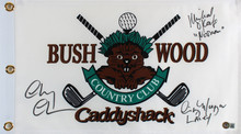 Caddyshack (3) Chase, Morgan & O'Keefe Signed Bushwood Flag BAS Witnessed