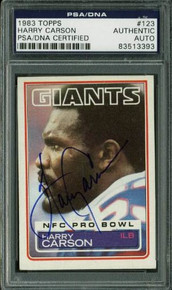 Giants Harry Carson Authentic Signed Card 1983 Topps #123 PSA/DNA Slabbed