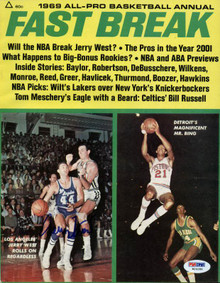 Lakers Jerry West Authentic Signed 1969 Fastbreak Magazine PSA/DNA #W24286