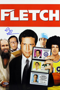 Chevy Chase Fletch Authentic Signed 12x18 Mini Movie Poster BAS Witnessed 1