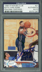 Nets Keith Van Horn Authentic Signed Card 1998 Stadium Club #21 PSA/DNA Slabbed