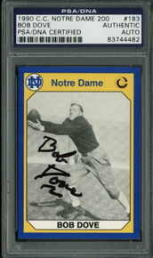 Bob Dove Authentic Signed Card 1990 C.C. Notre Dame 200 #183 PSA/DNA Slabbed