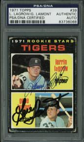 Tigers Gene Lamont & Lerrin Lagrow Signed Card 1971 Topps Rc #39 PSA/DNA Slabbed